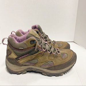 Merrell Hiking Outdoor High Top Brindle Shoes 7.5